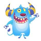 Monstro azul macio bonito Pesca à corrica do vetor ou caráter do diabrete ilustração royalty free
