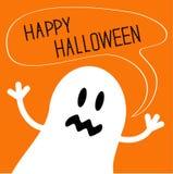 Monstro bonito do fantasma com bolha do texto do discurso Cartão feliz de Halloween Projeto liso Imagem de Stock Royalty Free