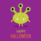 Monstro bonito do verde dos desenhos animados. Cartão feliz de Dia das Bruxas Foto de Stock