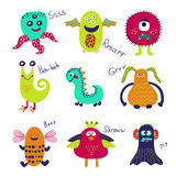 Monstro bonitos ajustados Coleção do monstro dos desenhos animados Imagem de Stock