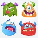 Monstro bonitos dos desenhos animados Grupo do vetor de 4 ícones do monstro de Dia das Bruxas ilustração royalty free