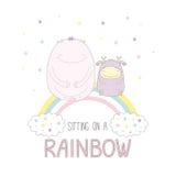 Monstro bonitos que sentam-se em um arco-íris Foto de Stock
