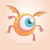 Monstro brilhante bonito ou estrangeiro com um olho Sorriso engraçado dos Cyclops do voo da garatuja dos desenhos animados Ilustr Foto de Stock