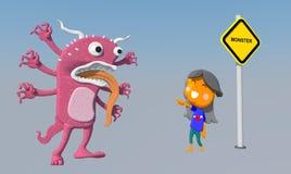 Monstro com crianças Ilustração Stock