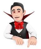 monstro 3D engraçado Vampiro que aponta para baixo Espaço vazio Fotografia de Stock