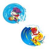 Monstro de dois homens que joga surfar ilustração stock
