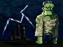 Monstro de Frankenstein dos desenhos animados em uma cena da noite ilustração royalty free