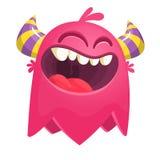 Monstro do catoon do voo Caráter cor-de-rosa para Dia das Bruxas ilustração do vetor