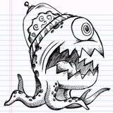 Monstro do estrangeiro do esboço do Doodle do caderno Fotografia de Stock Royalty Free