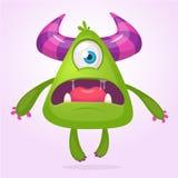 Monstro do vetor dos desenhos animados Ilustração estrangeira do monstro com expressão surpreendida Projeto estrangeiro verde cho ilustração stock