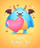 Monstro dos desenhos animados com um cartão do Valentim do coração Imagens de Stock Royalty Free