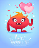 Monstro dos desenhos animados com um cartão do Valentim do coração Imagem de Stock