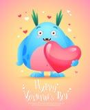 Monstro dos desenhos animados com um cartão do Valentim do coração Imagens de Stock