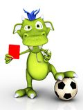 Monstro dos desenhos animados como o árbitro do futebol. Imagens de Stock