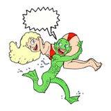 monstro dos desenhos animados que leva fora da mulher Foto de Stock Royalty Free