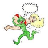 monstro dos desenhos animados que leva fora da mulher Imagens de Stock Royalty Free