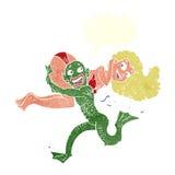 monstro dos desenhos animados que leva fora da mulher Fotografia de Stock
