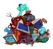 Monstro e estrangeiros derrotados pelo herói Imagem da banda desenhada Fotografia de Stock Royalty Free