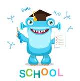 Monstro e texto engraçados de volta à escola em ilustrações de um vetor do fundo do branco Mascote do monstro dos desenhos animad Fotos de Stock Royalty Free