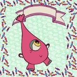 Monstro engraçado cor-de-rosa nos doces Fotos de Stock Royalty Free