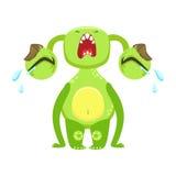 Monstro engraçado gritando para fora alto, etiqueta verde do personagem de banda desenhada de Emoji do estrangeiro Imagem de Stock