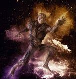 Monstro estrangeiro na ilustração do fundo 3d do espaço Fotos de Stock Royalty Free