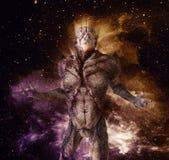 Monstro estrangeiro na ilustração do fundo 3d do espaço Imagens de Stock Royalty Free