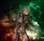 Monstro estrangeiro na ilustração do fundo 3d do espaço Fotografia de Stock Royalty Free