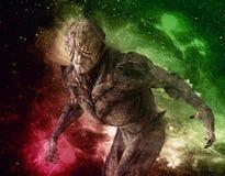 Monstro estrangeiro na ilustração do fundo 3d do espaço Foto de Stock