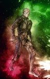 Monstro estrangeiro na ilustração do fundo 3d do espaço Foto de Stock Royalty Free