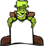 Monstro feliz de Frankenstein Halloween com sinal Imagens de Stock Royalty Free