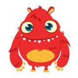 Monstro feliz dos desenhos animados Monstro peludo vermelho de Dia das Bruxas do vetor Fotos de Stock