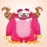 Monstro feliz dos desenhos animados Sorriso horned do monstro do vetor de Dia das Bruxas Foto de Stock