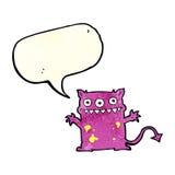 monstro pequeno dos desenhos animados com bolha do discurso Fotografia de Stock