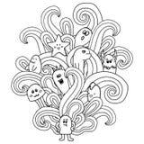 Monstro preto e branco ao estilo de uma garatuja Páginas da coloração para adultos Imagens de Stock