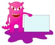 Monstro roxo com desenhos animados da placa do sinal ilustração royalty free