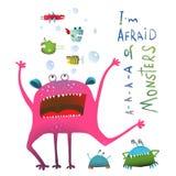 Monstro subaquático engraçado horrível que grita dentro Imagens de Stock Royalty Free