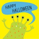 Monstro verde bonito com bolha do texto do discurso Cartão feliz de Halloween Projeto liso Fotos de Stock
