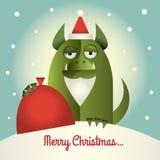 Monstro verde com Feliz Natal da barba Fotografia de Stock Royalty Free