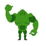 Monstro verde irritado Diabrete assustador grande e forte em uma parte traseira do branco Imagem de Stock Royalty Free