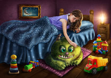 Monstro verde sob a cama Imagens de Stock Royalty Free