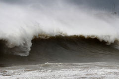 Monstrous Tsunami wave during a storm Stock Photography