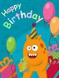 Monstruo amarillo divertido con los regalos y los globos postal Feliz cumpleaños Vector Imágenes de archivo libres de regalías