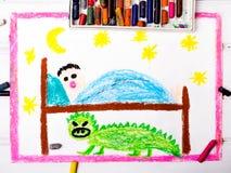 Monstruo asustadizo debajo de la cama de los niños ilustración del vector