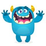 Monstruo azul peludo lindo Vector Bigfoot o mascota del carácter del duende Diseño para el libro de niños stock de ilustración