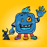Monstruo azul sonriente de la historieta del vector Fotos de archivo libres de regalías