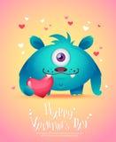 Monstruo de la historieta con una tarjeta de la tarjeta del día de San Valentín del corazón Imagen de archivo libre de regalías
