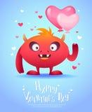 Monstruo de la historieta con una tarjeta de la tarjeta del día de San Valentín del corazón Imagen de archivo