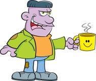Monstruo de la historieta que sostiene una taza de café Imágenes de archivo libres de regalías