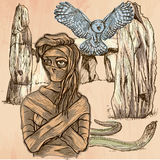 Monstruo de la momia Cuadro de Víspera de Todos los Santos Una imagen dibujada mano del vector Fotografía de archivo libre de regalías